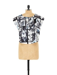 Black And White Graphic Print Top - EVogue.Me