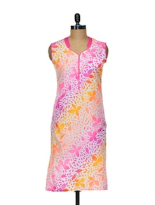Neon Floral Print Cotton Kurti - KYLA F 75334