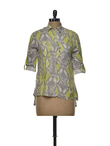 Snake Print Shirt In Green & Grey - House Of Tantrums