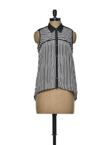 Fluid Black And White Striped Shirt - Mishka
