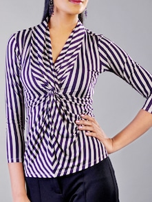 Twisty Striped Purple Knit Top - Kaaryah