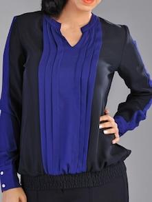 Blue-black Pleated Top - Kaaryah