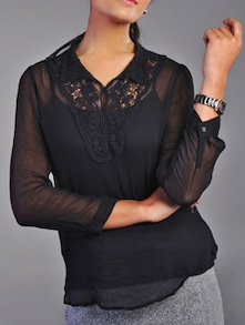 Lace Work Black Sheer Top - Kaaryah