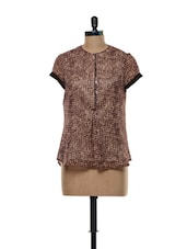 Printed Brown Georgette Top - Kaaryah