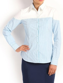 Blue And White Formal Shirt - Kaaryah