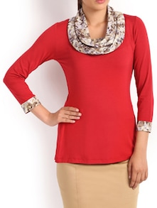 Red And Brown Sassy Top - Kaaryah