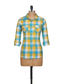 Turquoise-Yellow Checked Shirt - Overdrive