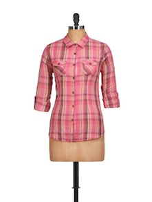 Charming Pink Checked Shirt - Overdrive