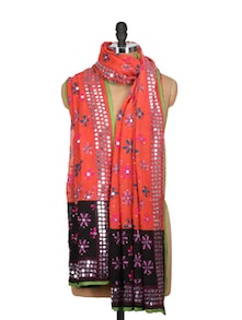 Orange And Black Embroidered Phulkari Dupatta - Vayana