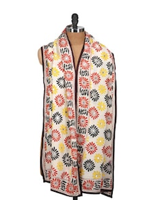 Off-White Phulkari Dupatta With Mirror Work - Vayana