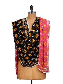 Brown And Pink Phulkari Dupatta With Mirror Work - Vayana