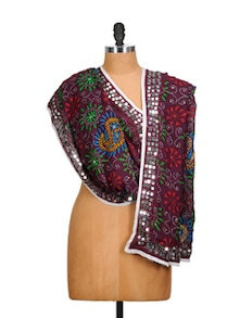 Maroon Phulkari Dupatta With Mirror Work - Vayana