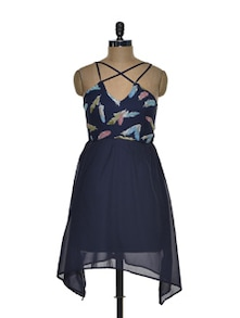 Strappy Chiffon Navy Dress - Besiva