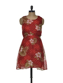 Floral Red Chiffon Dress - Besiva