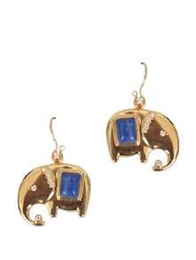 Gold And Blue Stone Elephant Earrings - Earrings & More....