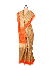 Beautiful Gold And Orange Art Silk Saree - Hypno Tex