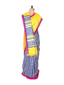 Vibrant Blue And Yellow Art Silk Saree - Hypno Tex