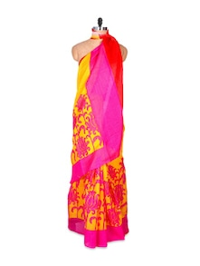 Yellow And Pink Art Silk Saree - Hypno Tex