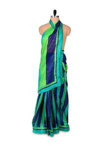 Blue And Green Art Silk Saree - Hypno Tex