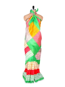 Multicoloured Art Silk Saree - Hypno Tex