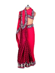 Pink And Black Georgette Viscose Saree - Hypno Tex