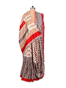 Grey And Off-White Printed Saree - Hypno Tex