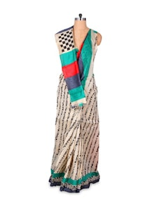 Quirky Beige Art Silk Saree - Hypno Tex