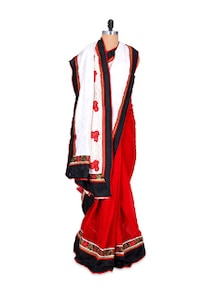 Stunning Red And White Art Silk Saree - Hypno Tex