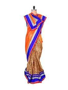 Stunning Orange And Blue Georgette Brasso Saree - Hypno Tex