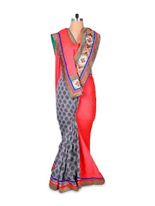 Red And Grey Art Silk Saree - Hypno Tex