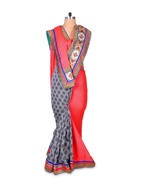 Red And Grey Art Silk Saree - Hypno Tex