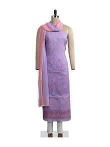 Lavender Grace Chikankari Suit Piece - Ada