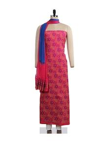 Floral Chikankari Pink-purple Suit Piece - Ada