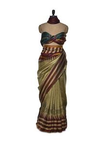 Mehendi Green Bhagalpuri Silk Saree - Awesome