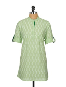 Pastel Green Kurti With Adjustable Sleeves - Fami India