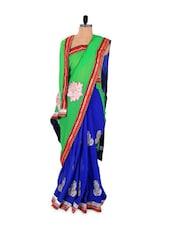 Royal Blue Saree With Bright Green Pallu - Khantil