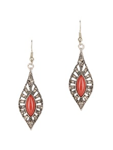 Red Gemstone Vintage Style Drop  Earrings - Fayon