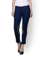 Cotton Denims With Animal Print Knee Patches - By