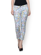Pastel Blue Floral Print Trousers - Rider Republic