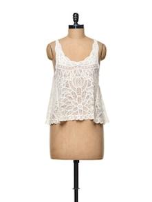 White Cotton Crochet Crop Top - TREND SHOP
