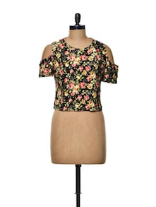 Black Floral Cut-out Sleeve Crop Top - TREND SHOP