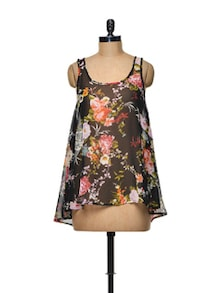 Black Floral Georgette Top - TREND SHOP