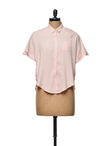 Light Pink Crop Shirt - TREND SHOP