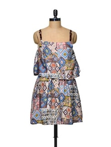 Abstract Print Blue Cotton Dress - TREND SHOP