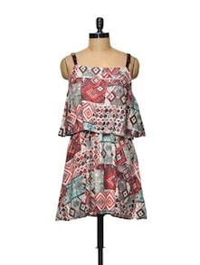 Abstract Print Red Cotton Dress - TREND SHOP