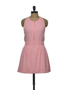 Front Zippered Peach Dress - Femella