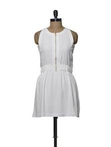 Zippered White Skater Dress - Femella