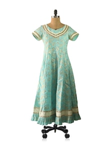 Powder Blue Floral Anarkali With Ruffled Hemline - Am Couture