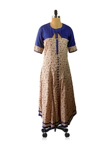 Floral Anarkali With A Cut Out Yoke - Am Couture
