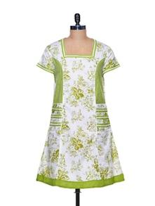 Cotton Green Floral Kurta - Paislei